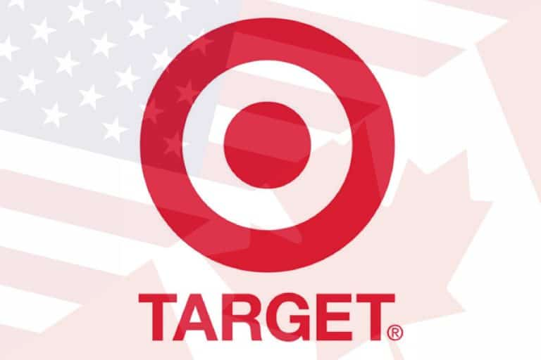 The Target logo over the flags of USA and Canada