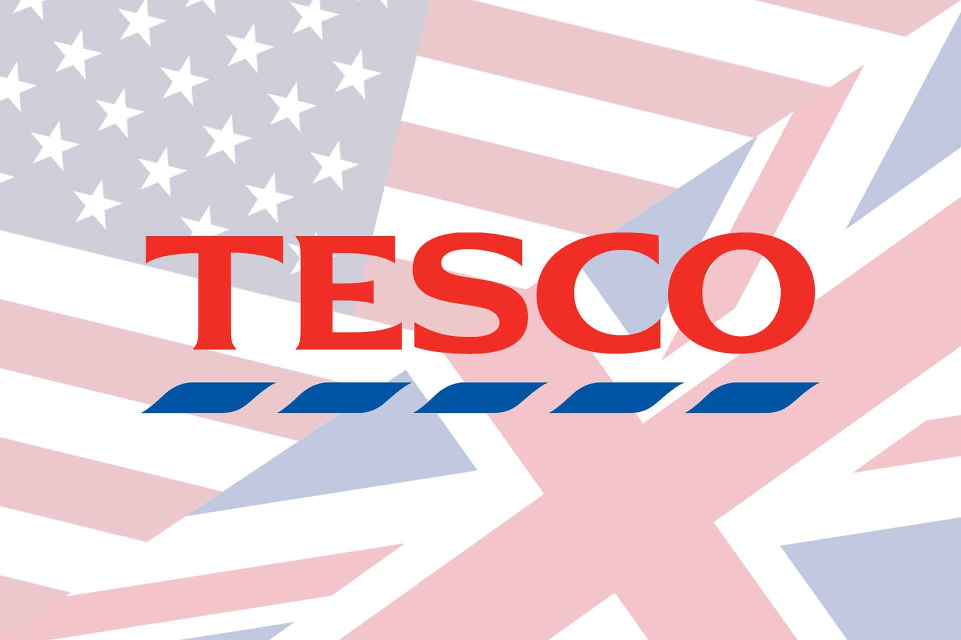 Tesco logo over US and UK flags