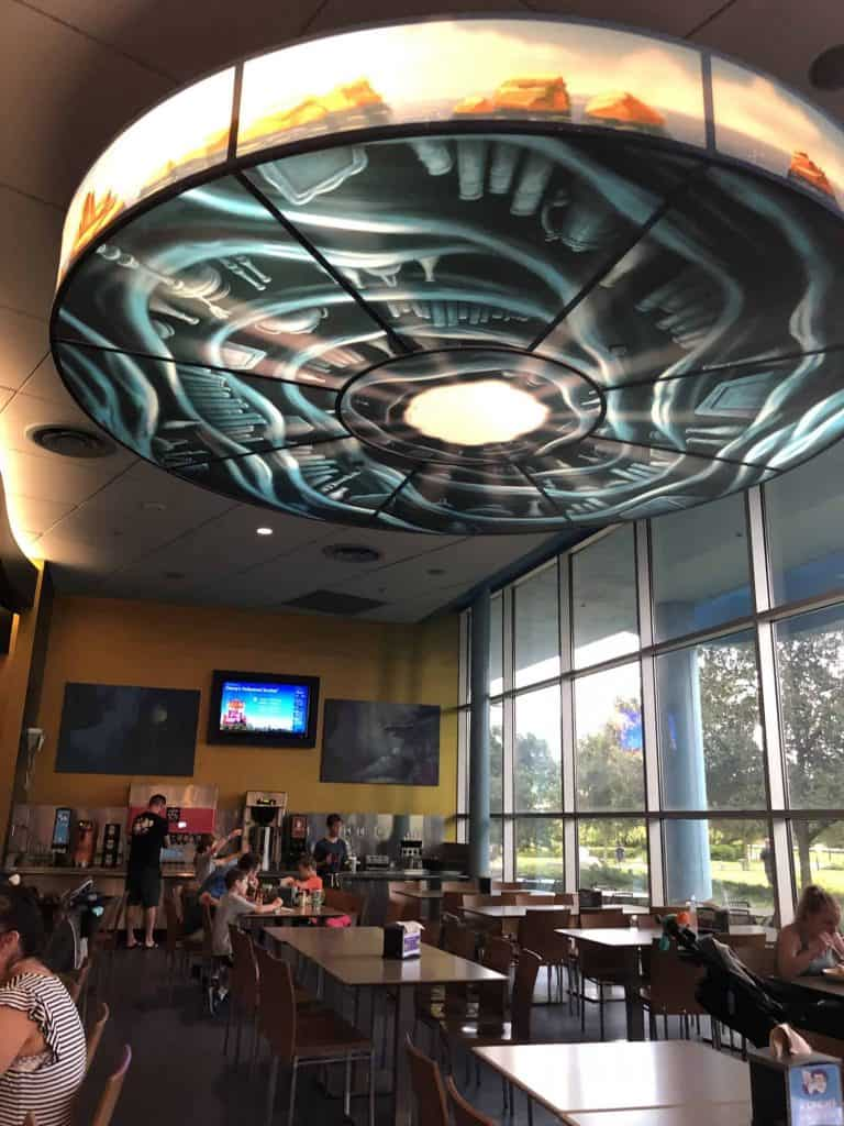 Art of Animation food court with tables