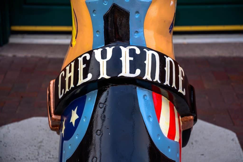 "A colorful cowboy boot with ""Cheyenne"" written across it"