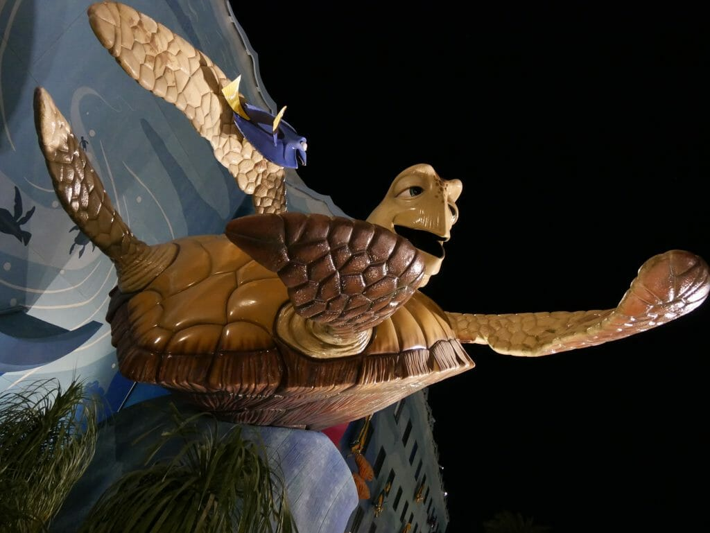 Disney's Art of Animation resort theming with Finding Nemo turtle statue
