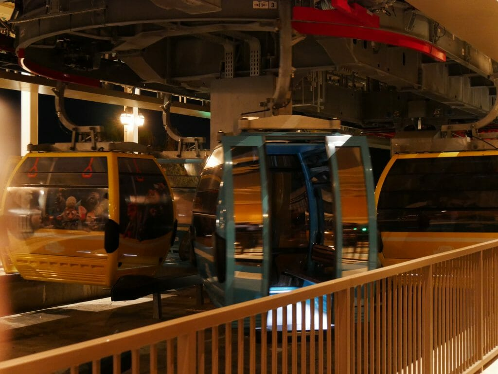 Looking inside a Disney World Skyliner car from the station