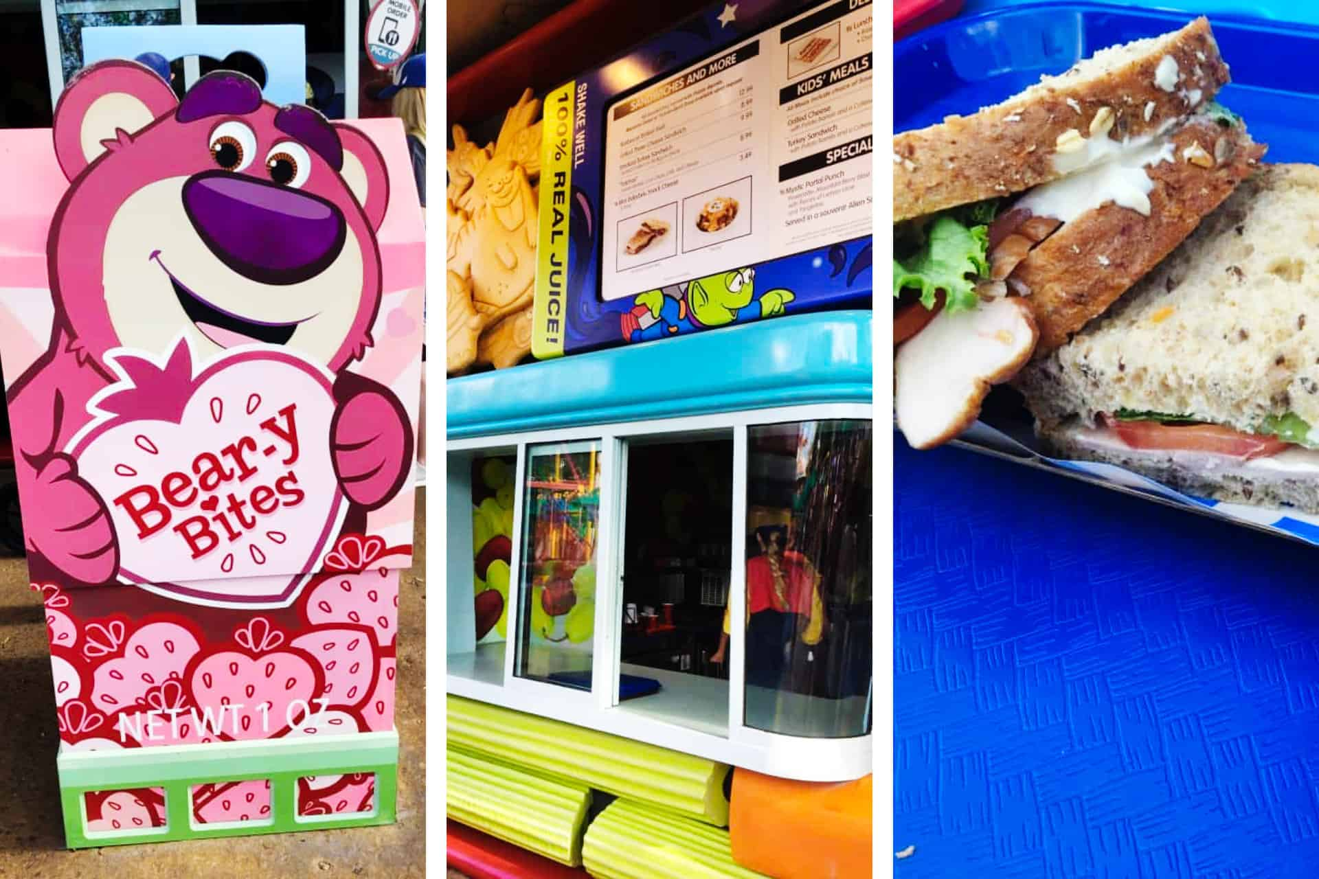 Images from Woody's Lunchbox at Disney World - a sandwich, a Beary Bites sign, and the ordering counter