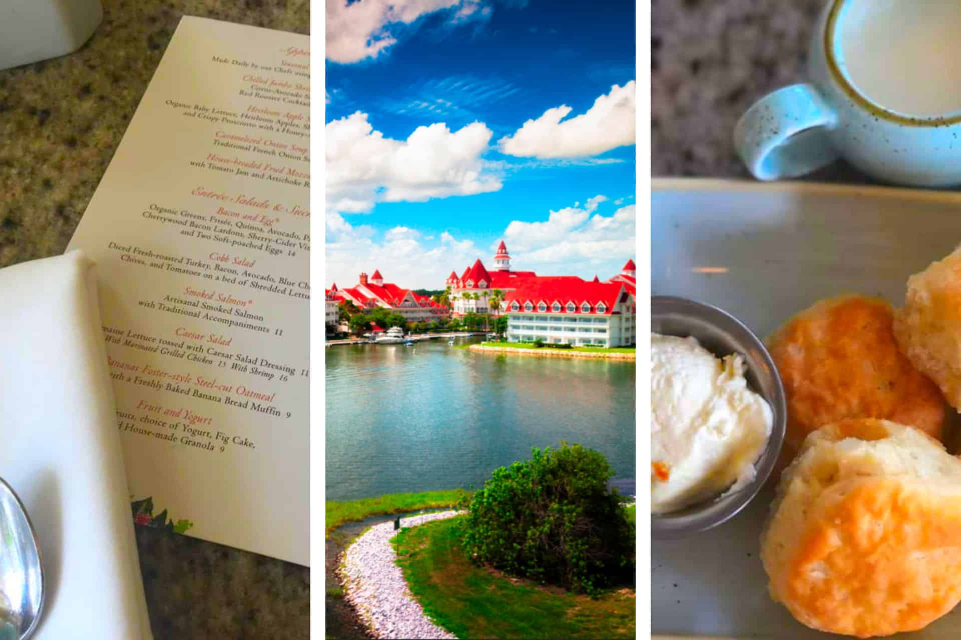 A breakfast spread on a table and an image of the Grand Floridian Resort with a deep blue sky, and a menu from the Grand Floridian Cafe