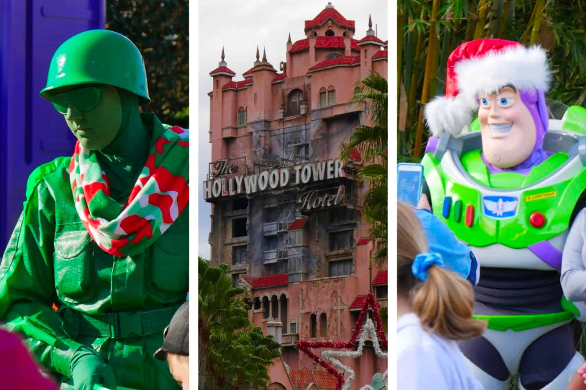 A toy soldier, Buzz Lightyear, and Hollywood Tower Hotel at Disney Hollywood Studios with Christmas decorations