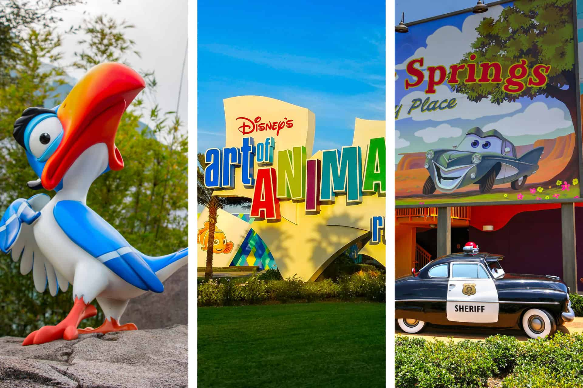 Art of Animation Sign with Model of Zazu from Lion King and Model of police car from Cars movie