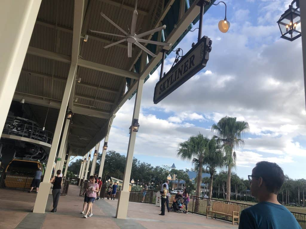A sign for the Disney Skyliner