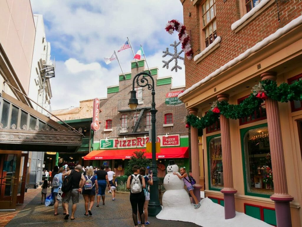A snowman outside a pizza restaurant at Hollywood Studios