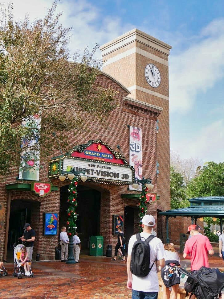Muppet Vision 3D entrance with Christmas decorations around it