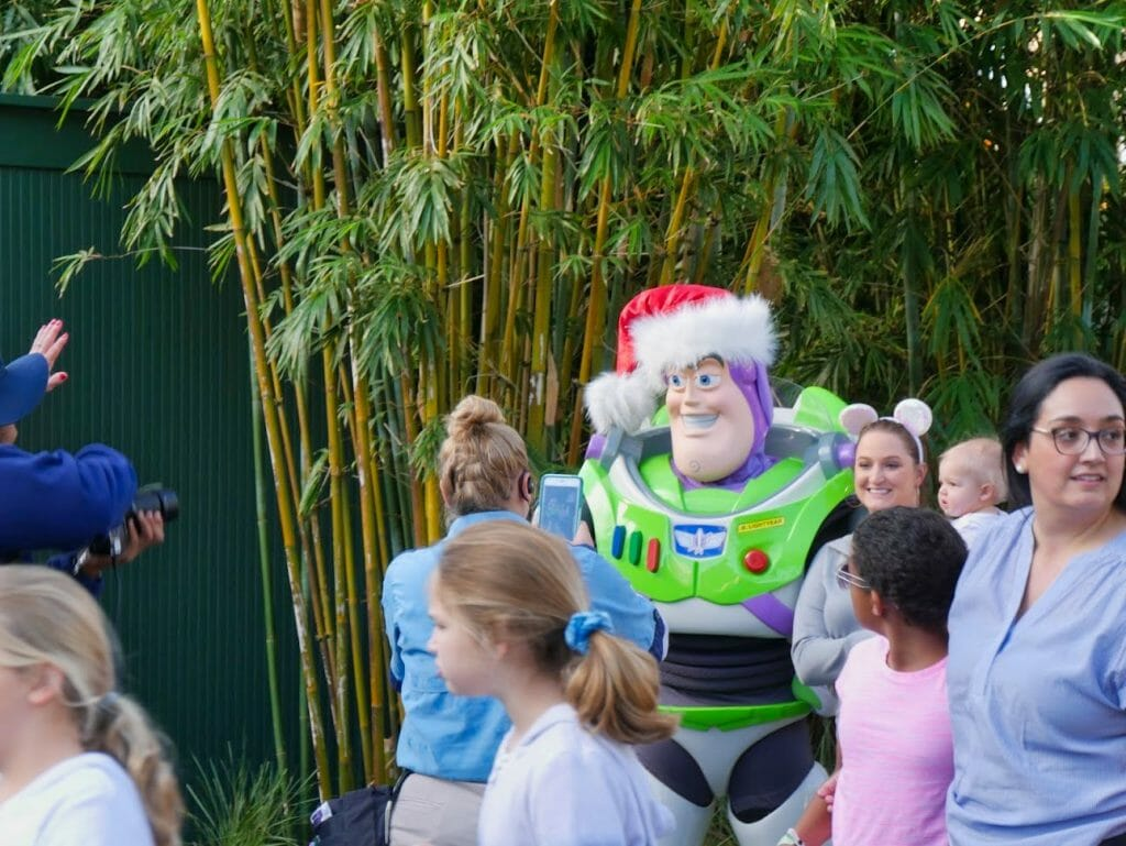 Buzz Lightyear with a Santa hat on