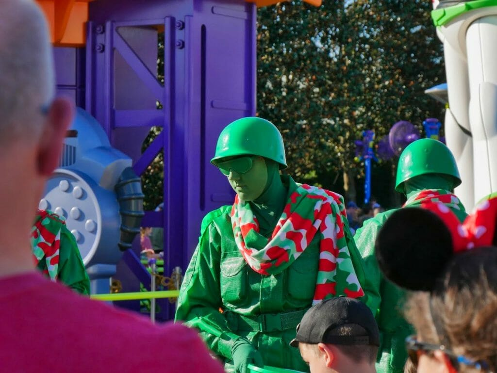 A toy soldier with a scarf on in Toy Story Land at Disney World's Hollywood Studios at Christmas