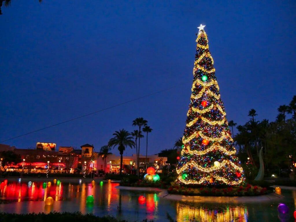 A Christmas tree lit up at Disney World Hollywood Studios at Christmas