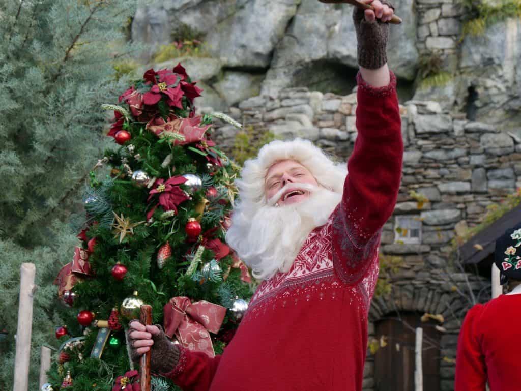 A Santa character at Epcot, Disney World at Christmas