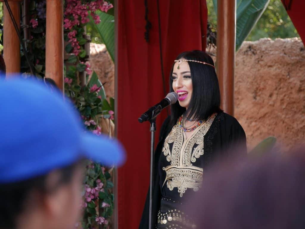 Moroccan singer at Epcot, Disney World at Christmas