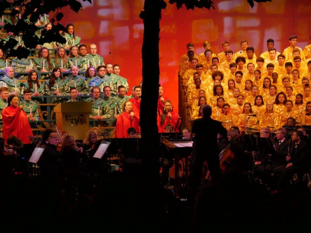 Candlelight Processional choir at Epcot, Disney World at Christmas