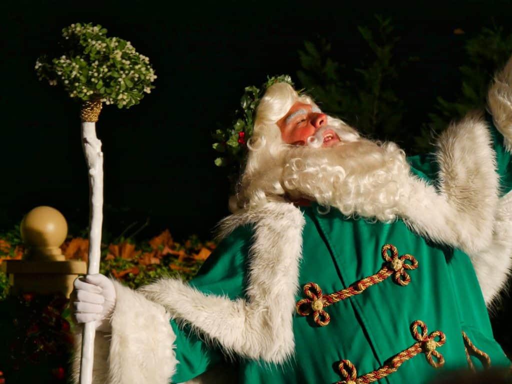 Father Christmas at British pavilion at Epcot at Christmas