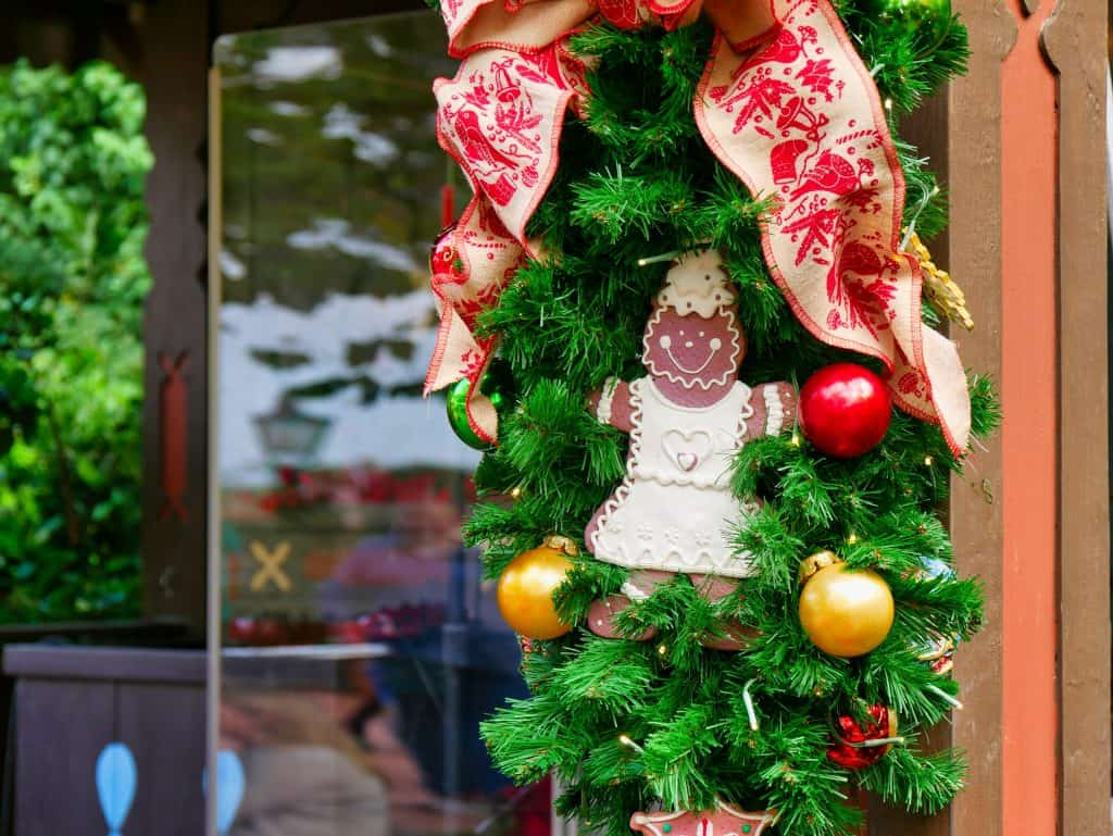 Gingerbread man in a wreath at Epcot, Disney World at Christmas