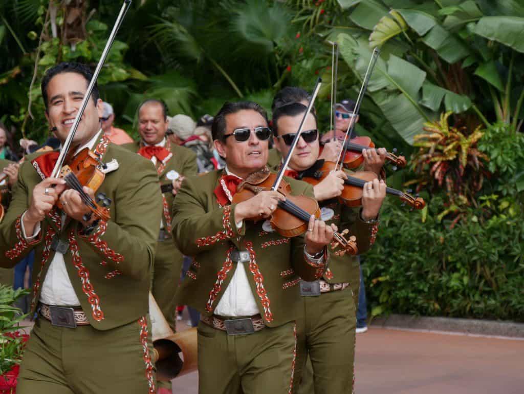 Mariachi with instruments at Epcot, Disney World at Christmas