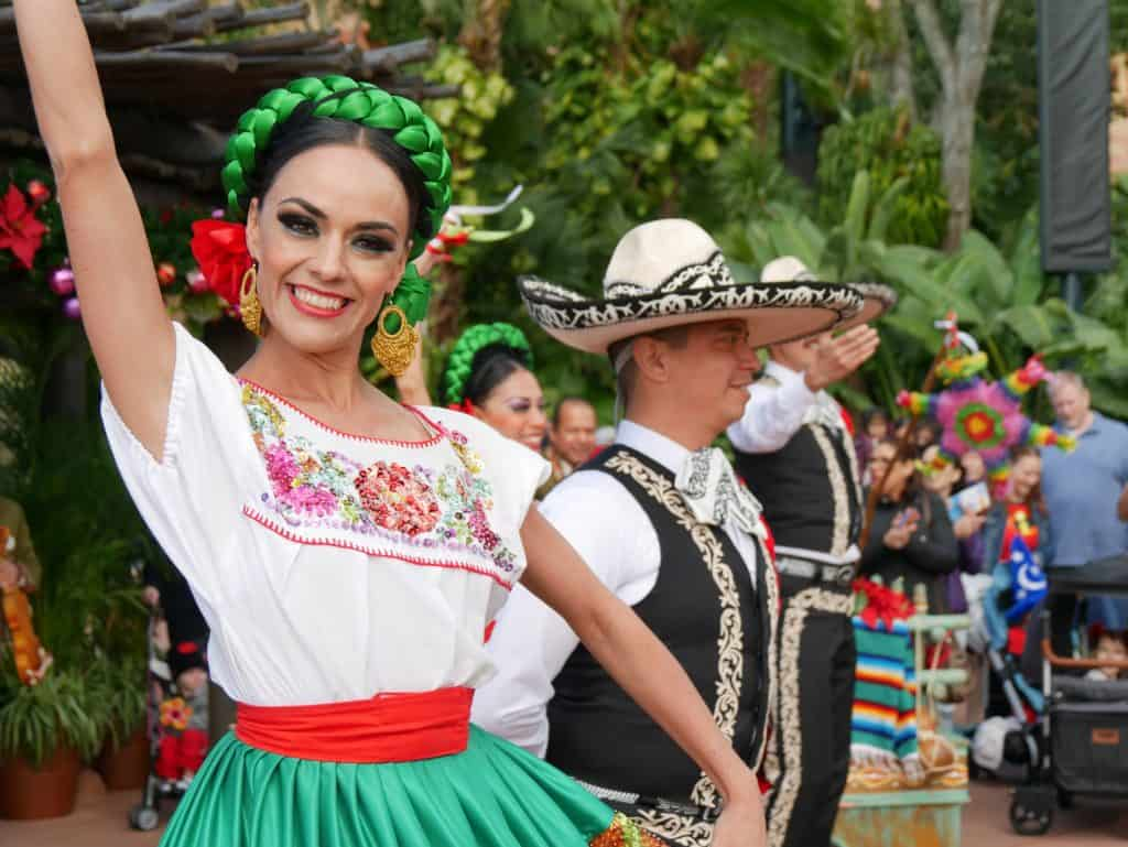 A female Mexican dancer at Epcot, Disney World at Christmas