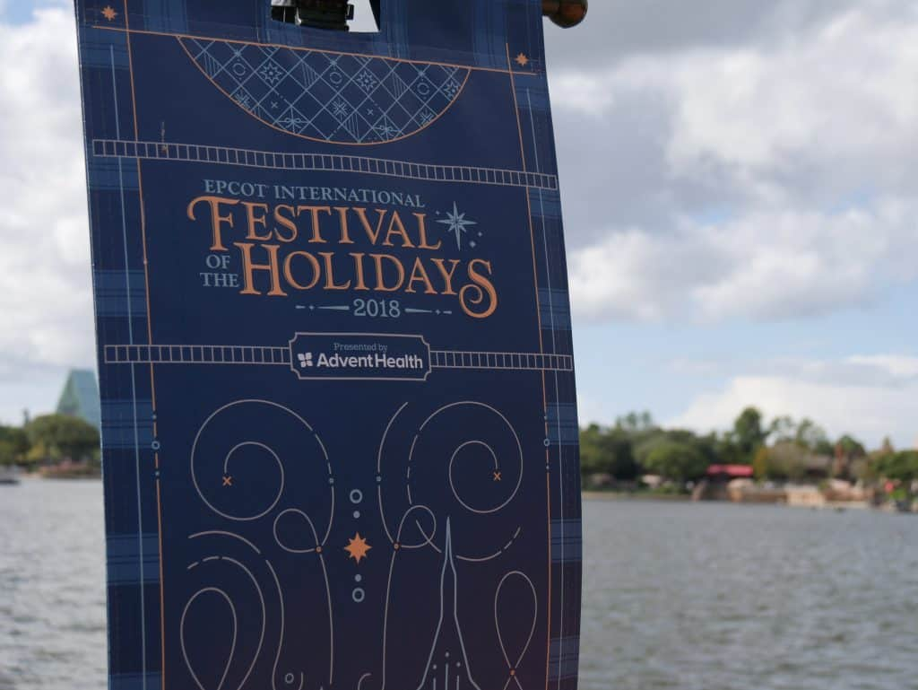 Festival of the Holidays sign at Epcot