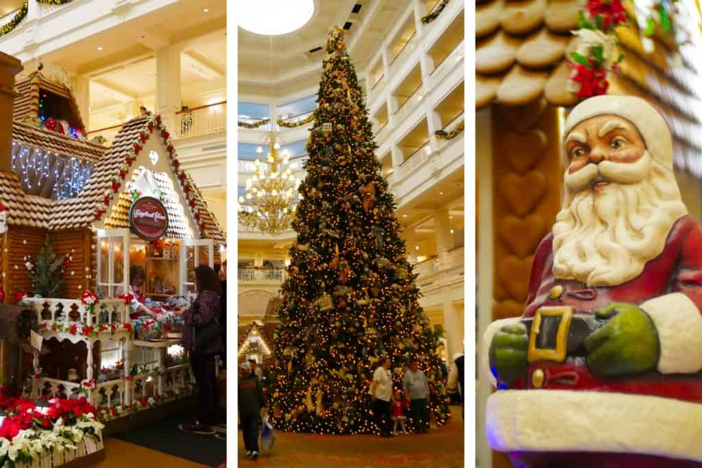Images from the Grand Floridian resort in Disney World Orlando at Christmas: a huge Christmas tree, a Santa decoration, a full-size gingerbread house shop.