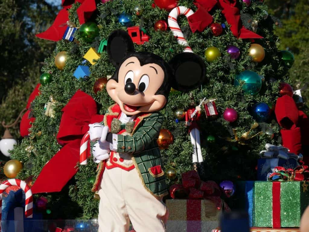 Mickey Mouse during the parade at the Magic Kingdom in Disney World at Christmas