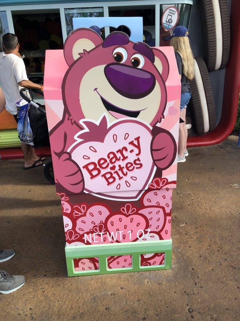 Bear-y Bites sign at Woody's Lunch box at Disney World Hollywood Studios