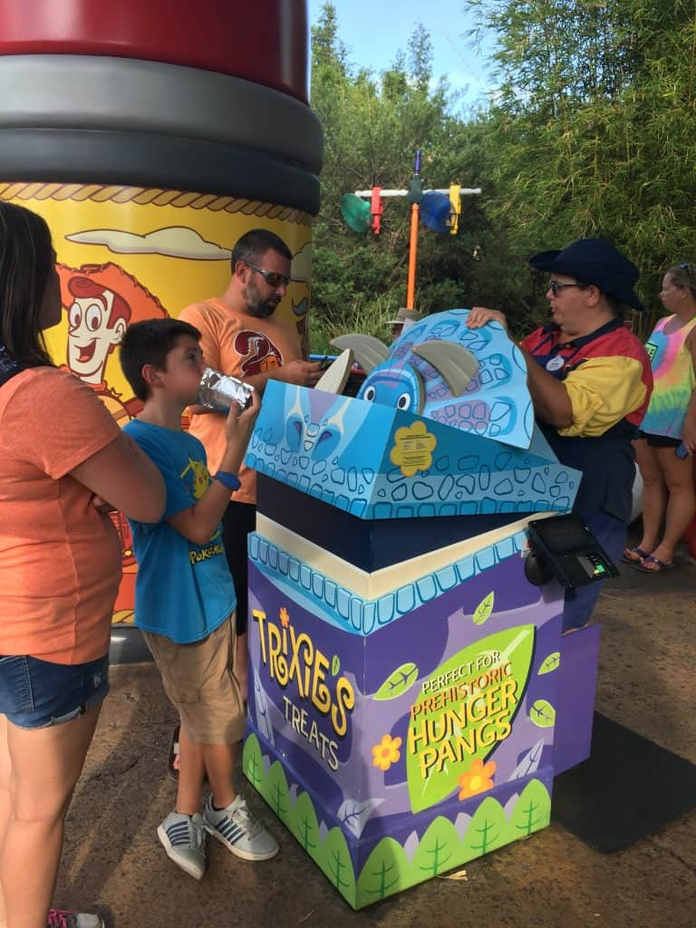 A Toy Story themed trash can at Toy Story Land's Woody's Lunchbox