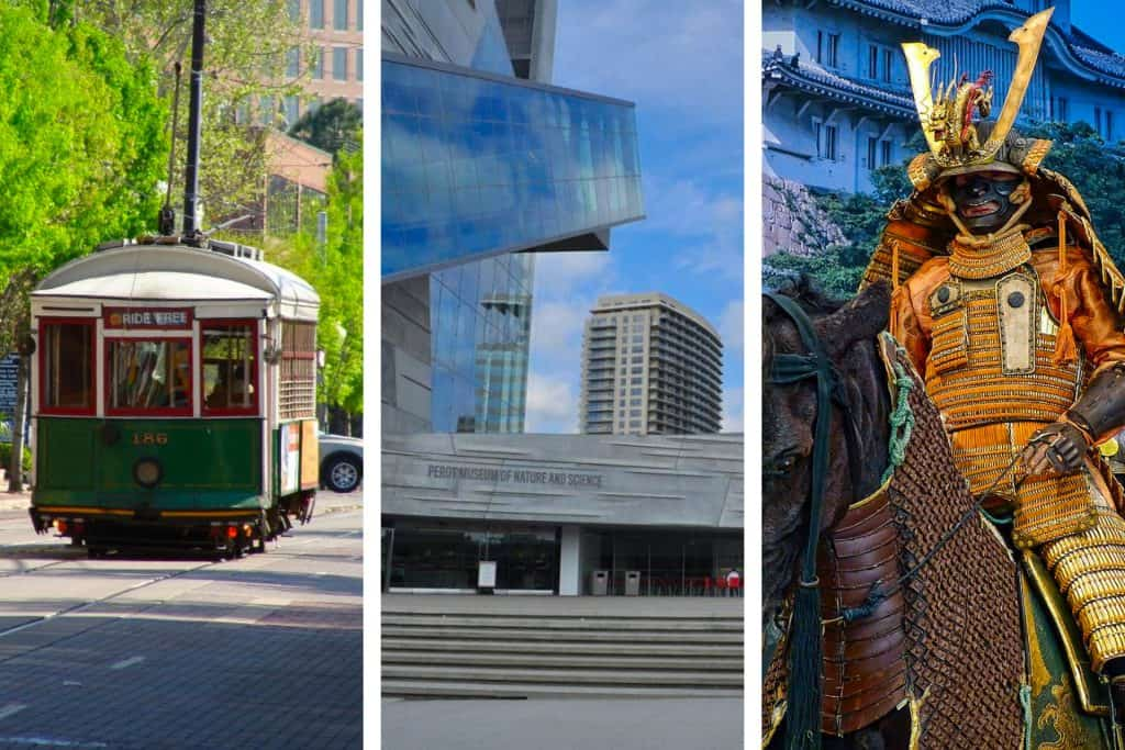 A trolley going down a road, Perot Museum of Nature and Science, and a Sumurai on a horse in Dallas and Fort Worth, Texas