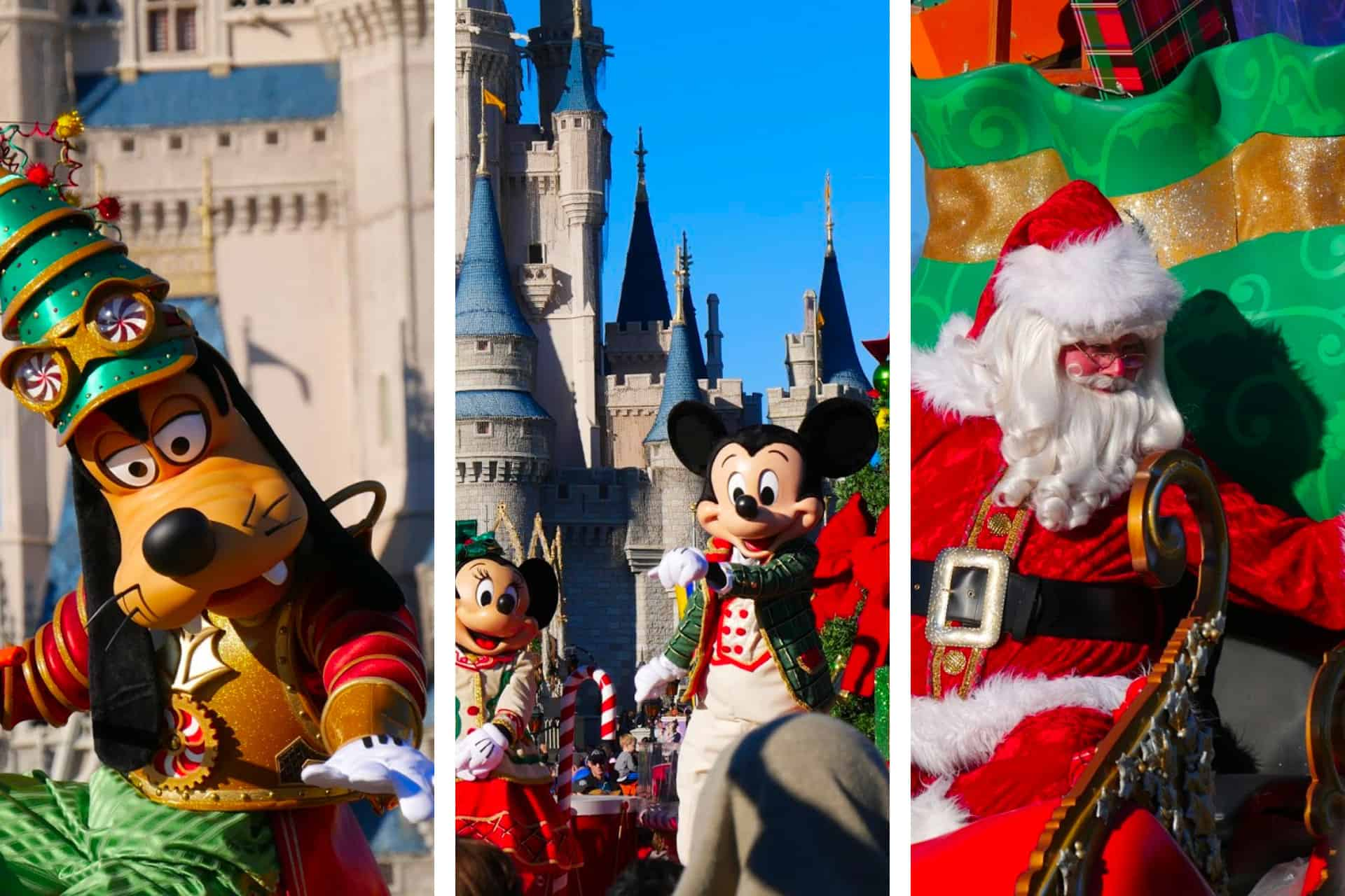 Goofy, Mickey Mouse, Minnie Mouse and Santa Claus at the parade at Magic Kingdom at Christmas