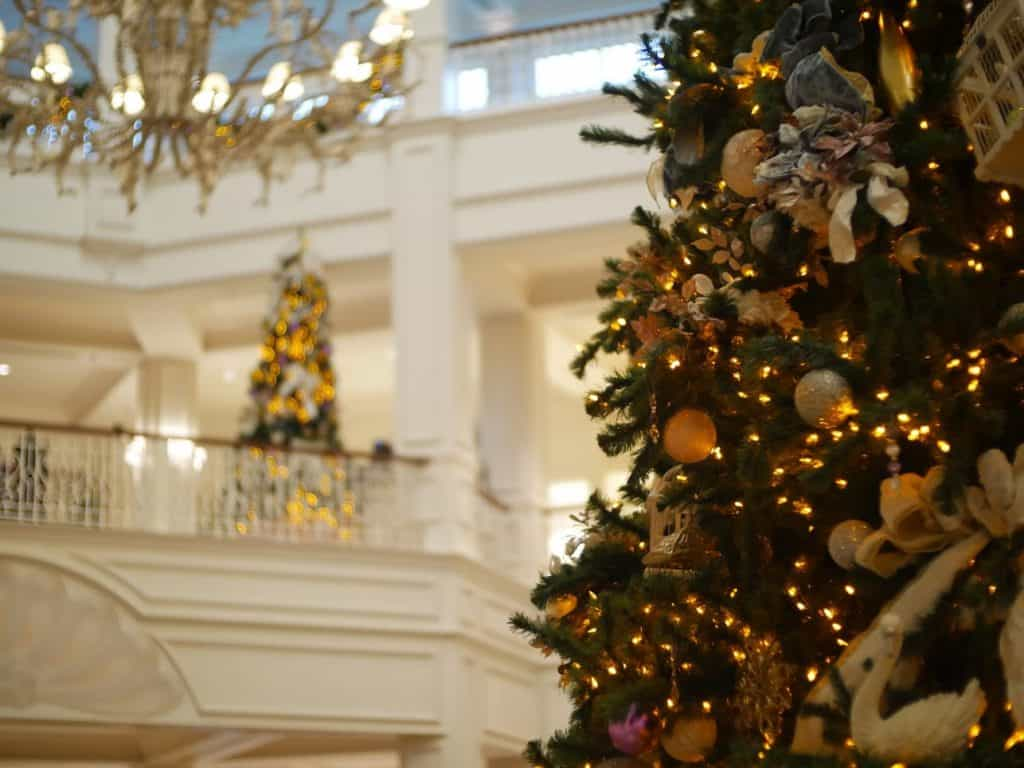 Two Christmas trees at the Grand Floridian Disney World resort at Christmas