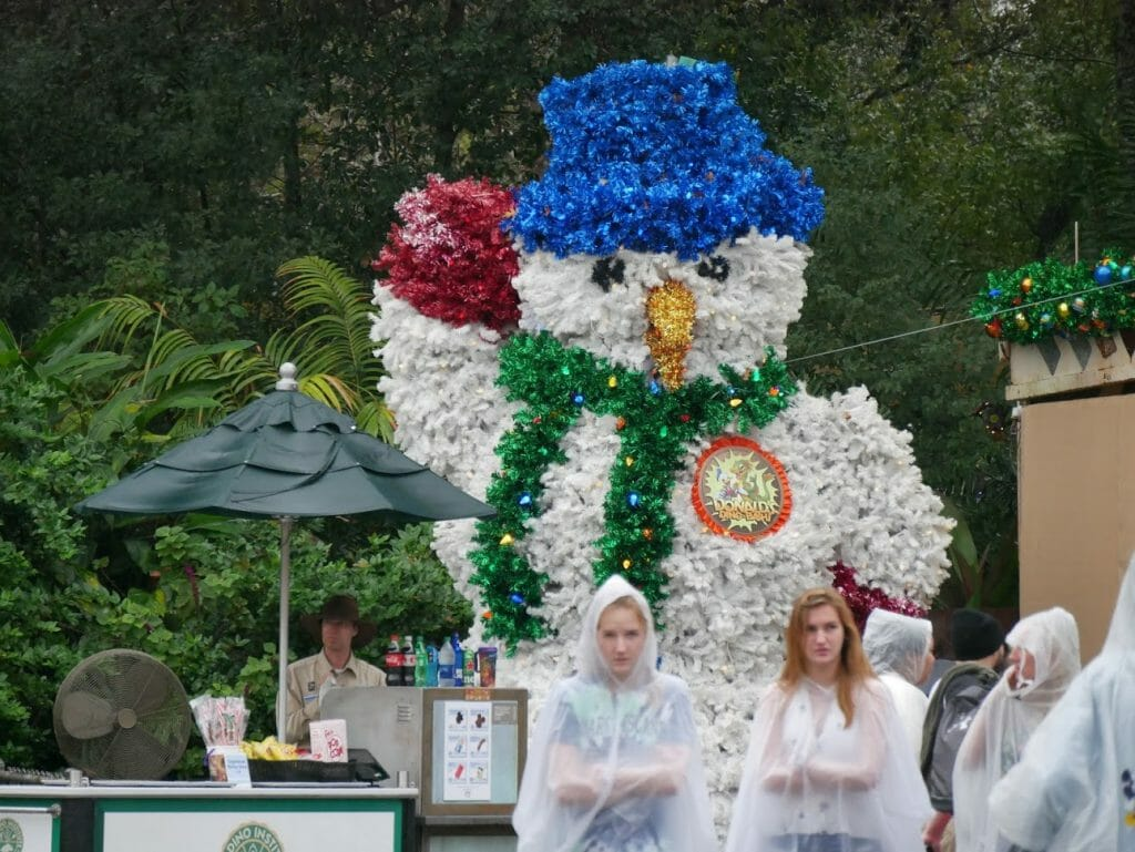 A giant snowman at Disney World's Animal Kingdom at Christmas