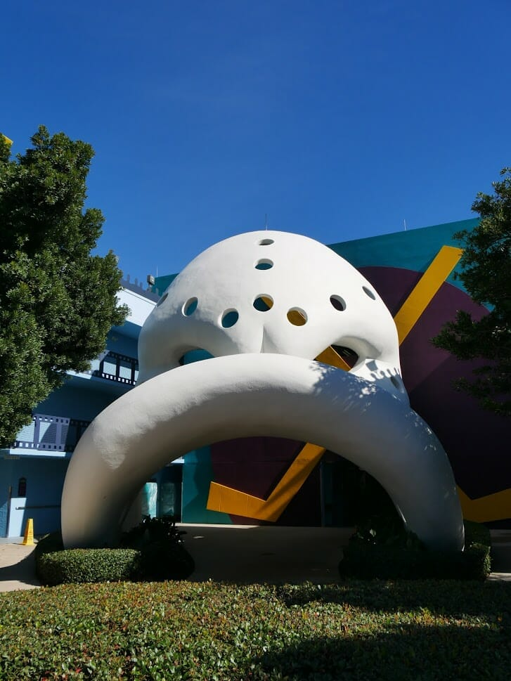 A giant Mighty Ducks mask at Disney All-Star Movies resort