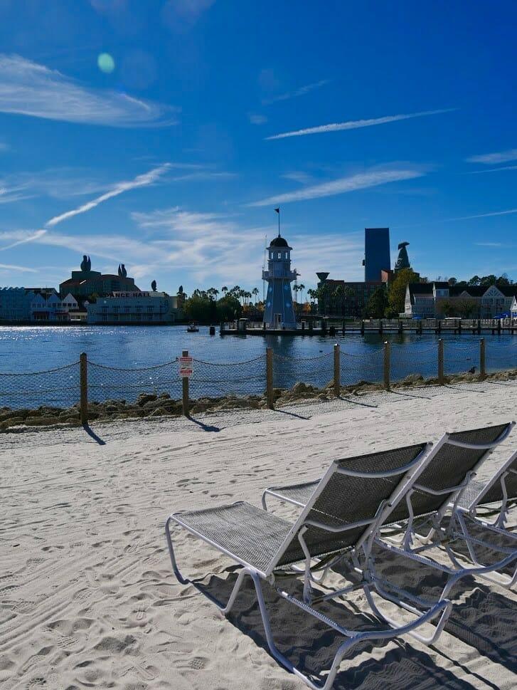 Deck chairs on a beach at Beach Club Dsiney world resort