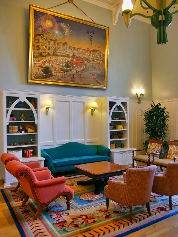 Inside a fancy reading room at Beach Club Villas Disney Vacation Club area