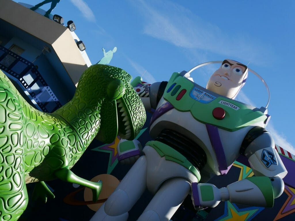 A giant Buzz Lightyear and Rex at Disney World All Star Movies Resort