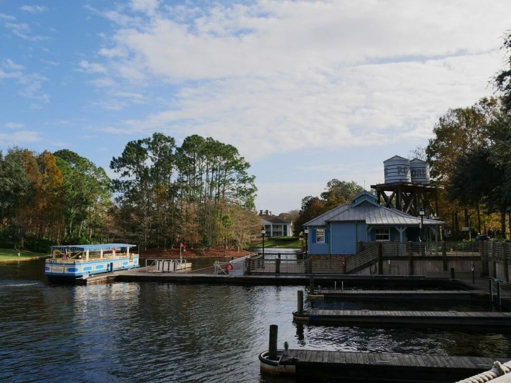 The boat landing dock at Port Orleans Riverside Disney World Resort