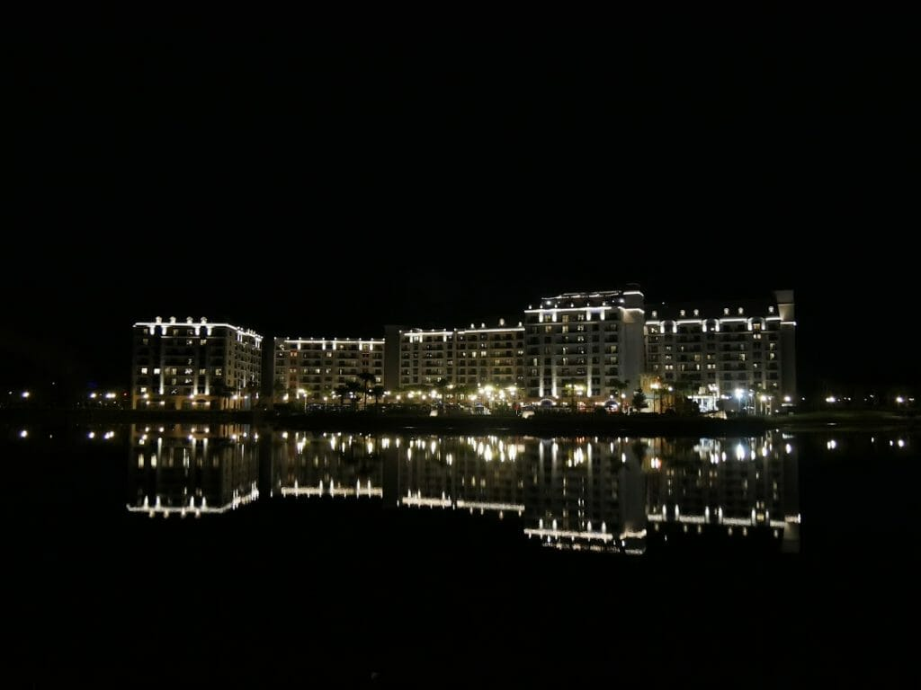 Disney's Riviera Hotel at night