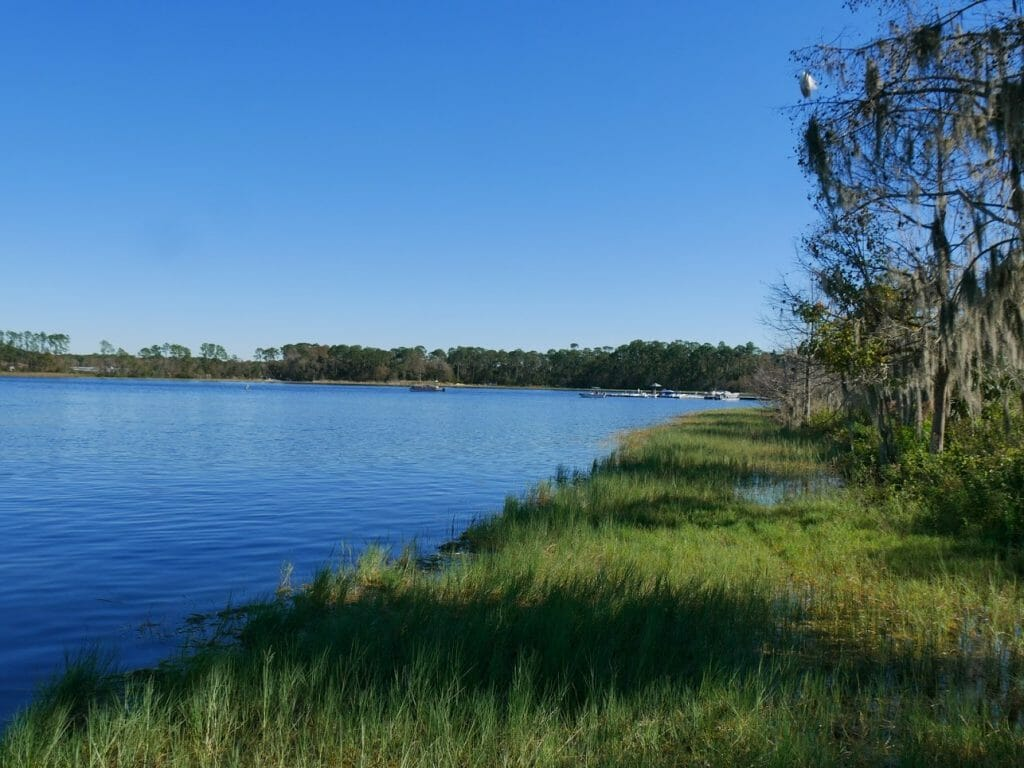 The lake at the back of Wilderness Lodge resort Disney World Orlando