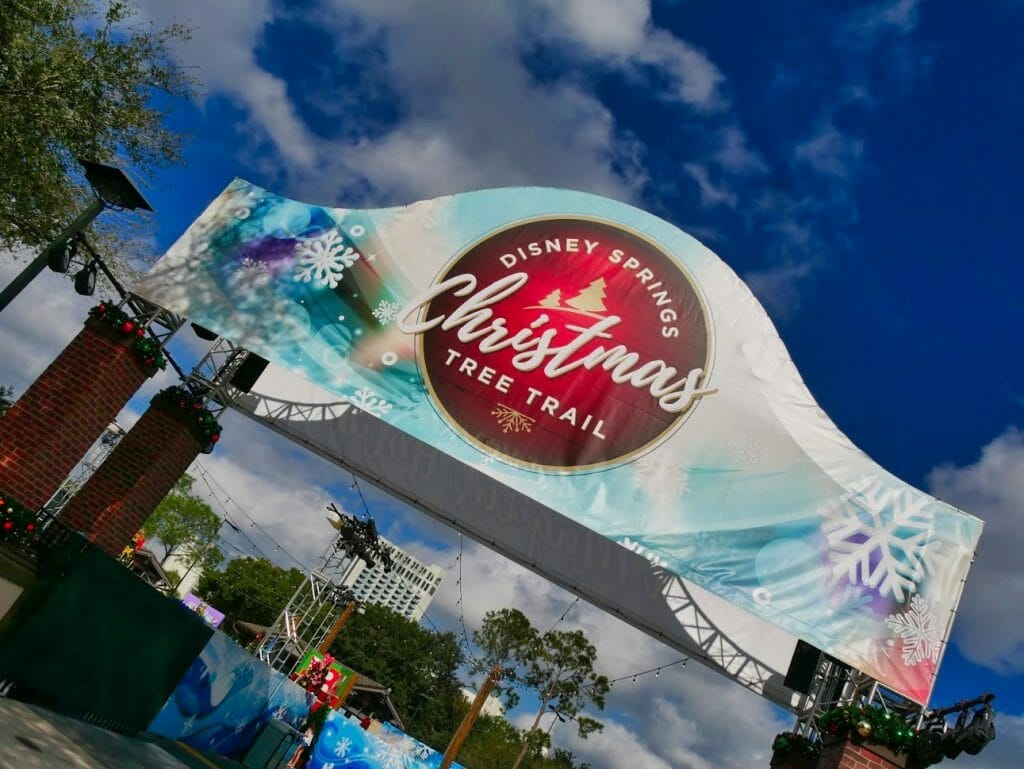 Disney Springs Christmas Tree Trail sign