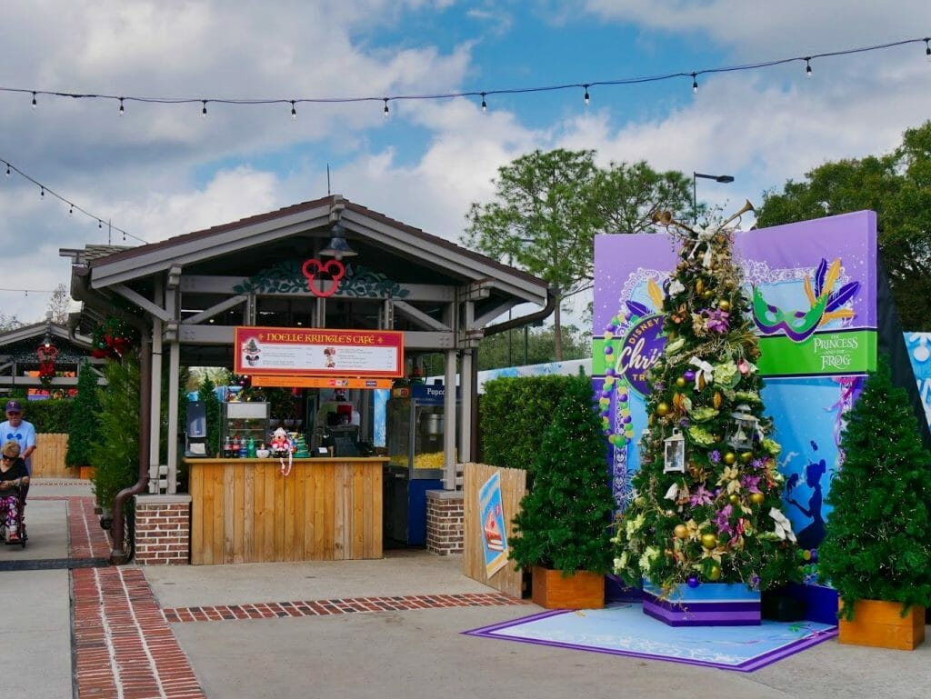 A snack shop and Princess and the Frog Christmas tree