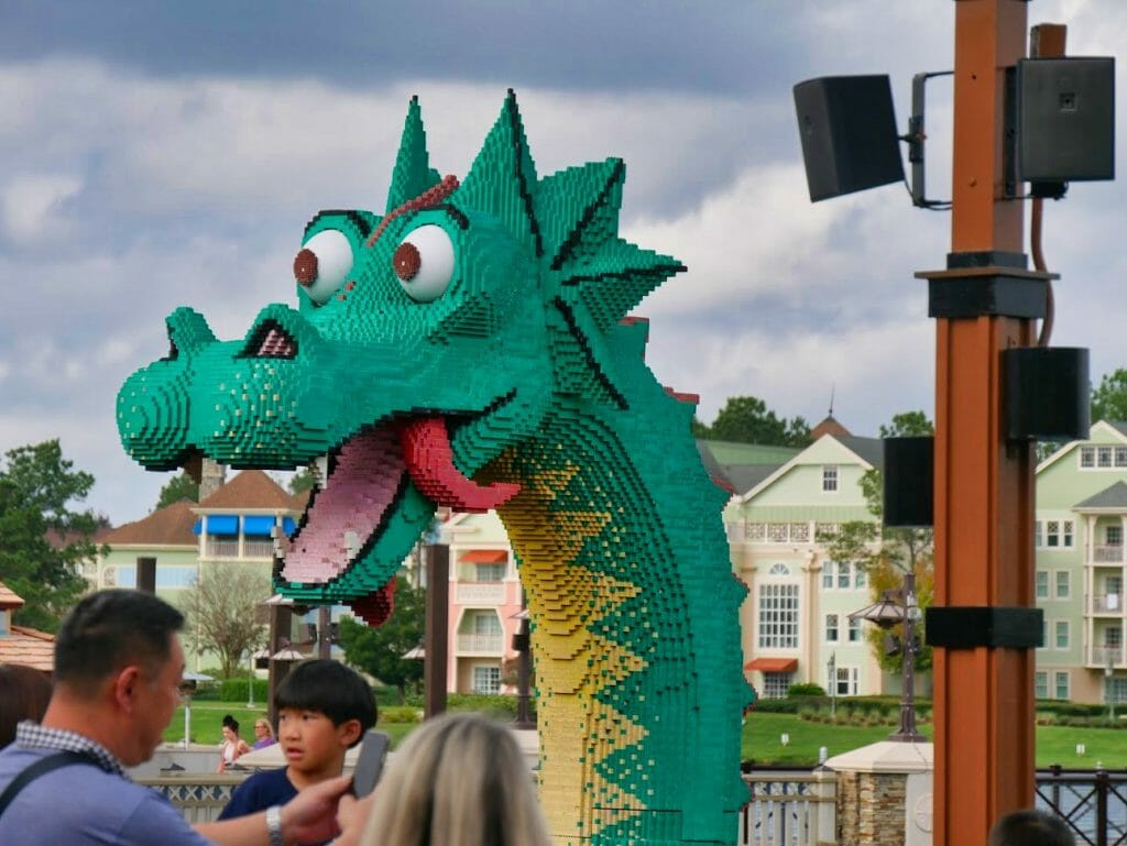 A Lego dinosaur at Disney Springs
