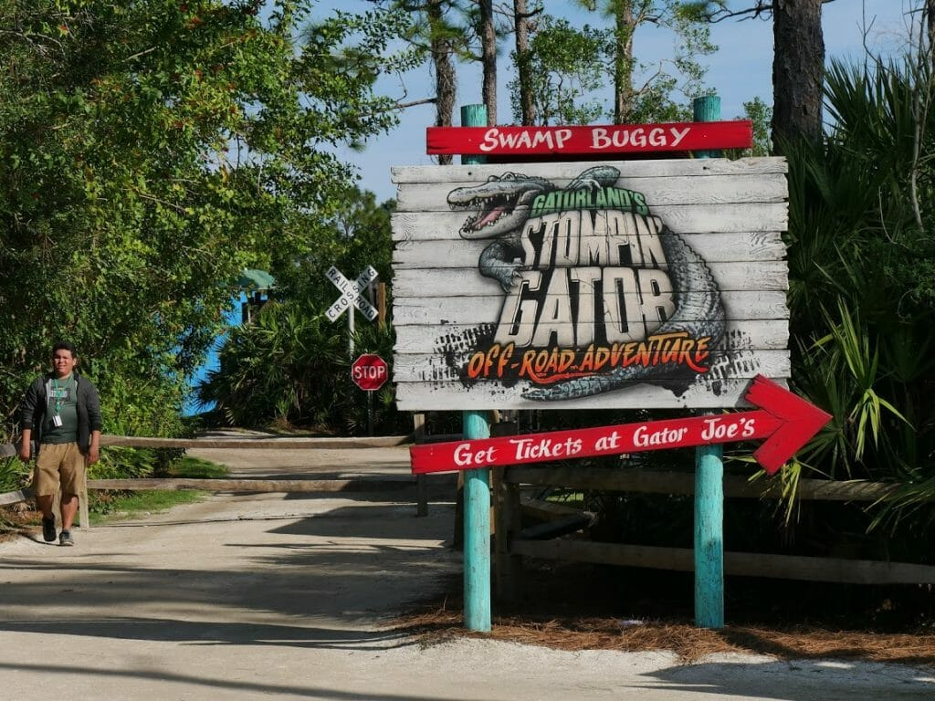 A sign for the Swamp Buggy at Gatorland Florida