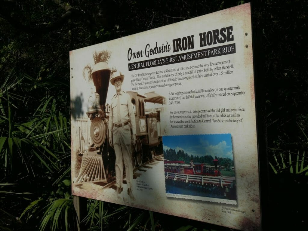 An information sign on the old steam train at Gatorland