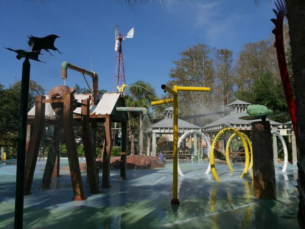 A water play area with water spraying