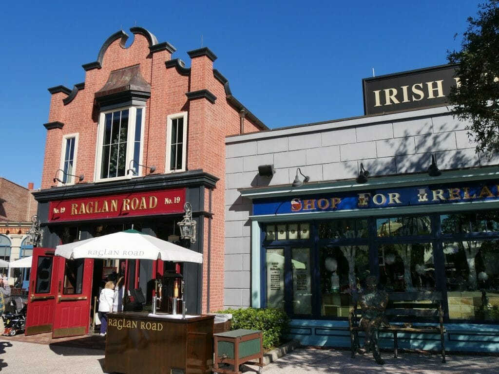 Raglan Road pub at Disney Springs with the Ireland shop next door