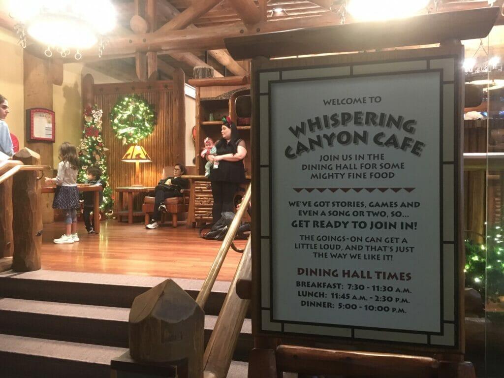 sign at whispering canyon cafe