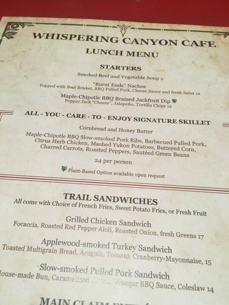whispering canyon cafe menu