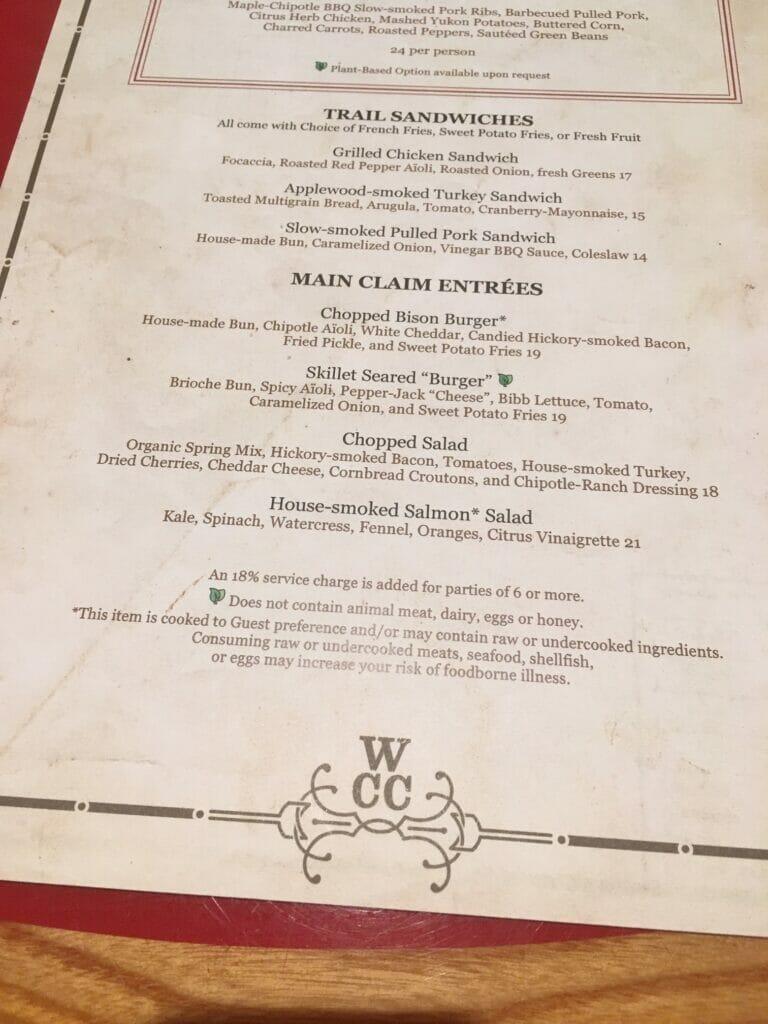 menu at whispering canyon cafe