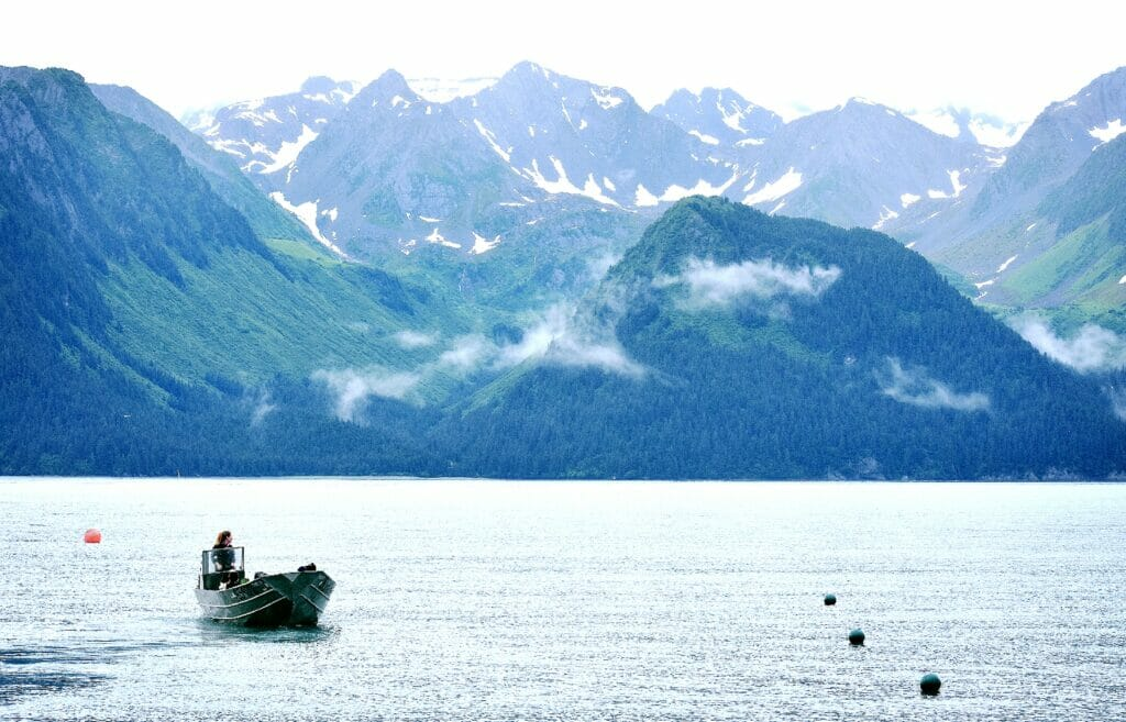 boat in water in seward alaska